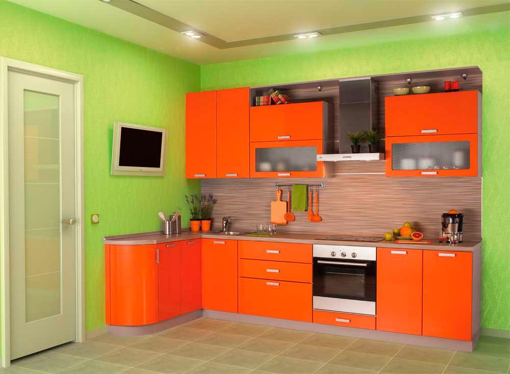 Кухни в оранжевых тонах фото